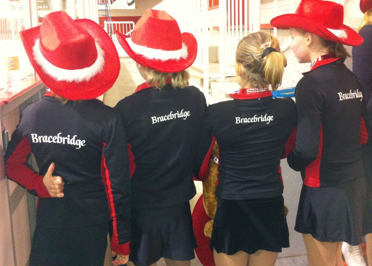 Picture of young skaters with red hats and Bracebridge jackets - 2014
