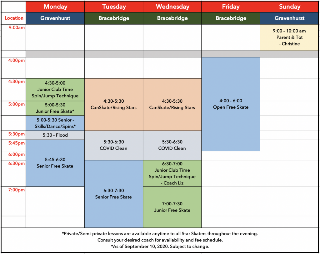 Fall 2020 Schedule as of Sept 10