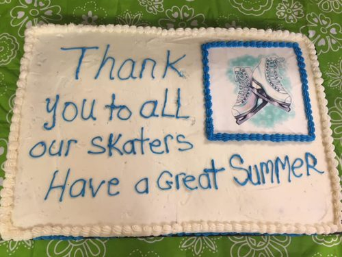 "Picture of cake with ""Thank you to all our skaters Have a great summer"""